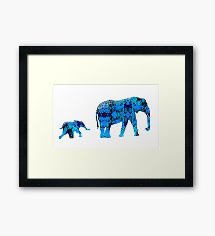 Inkblot Elephants Framed Print