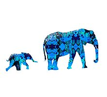 Inkblot Elephants Photographic Print