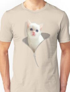 Funny Cat And The Zipper Unisex T-Shirt