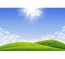 Green field and blue sky Photographic Print