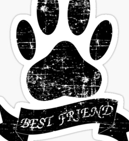 Distressed Dog Paw With Ribbon Sticker