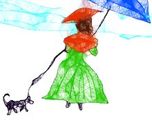 Scribbler Girl Walking Her Scrbbler Dog by MaeBelle