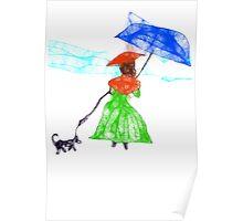 Scribbler Girl Walking Her Scrbbler Dog Poster