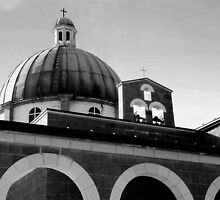 Church of the Beatitudes ~ Black & White by Lucinda Walter