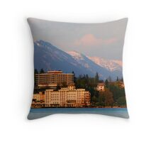 Evening glow on the Slovenian Alps, Lake Bled Throw Pillow