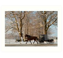 Horse and Buggy on a Wintery Morning Art Print