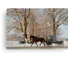 Horse and Buggy on a Wintery Morning Metal Print
