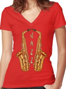 Jazz Saxophone Gold Women's Fitted V-Neck T-Shirt