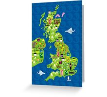cartoon map of the UK Greeting Card