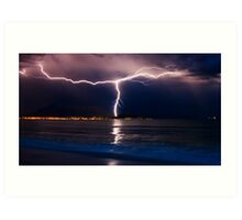 Lightning over Cape Town Art Print