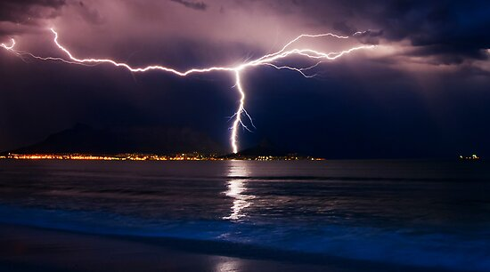 Lightning over Cape Town by Warren Tyrer