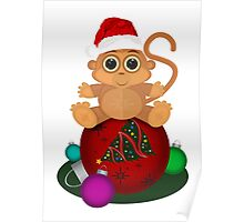 Christmas Monkey Poster