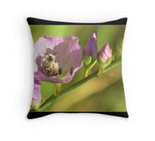 White Bee Covered in Pollen 5X7 notecard Throw Pillow