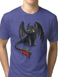 Toothless, Night Fury Inspired Dragon. Tri-blend T-Shirt