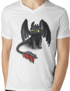 Toothless, Night Fury Inspired Dragon. Mens V-Neck T-Shirt