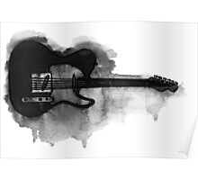 black and white electric guitar Poster
