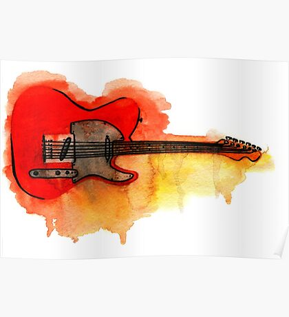 Watercolor guitar Poster
