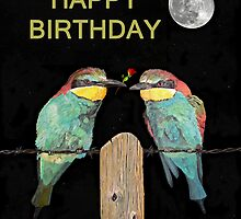 Bee Eaters with roseHAPPY BIRTHDAY by Eric Kempson