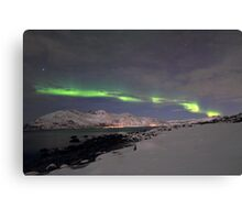Aurora at the arctic shore Canvas Print