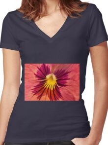 Pansy Macro  Women's Fitted V-Neck T-Shirt