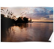 Brisbane River Industry Sunset Poster