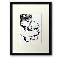 Girl And Bear Scribbler Framed Print