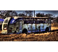 Old Bus - Bowie Texas Photographic Print