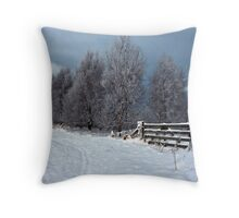 Snowy Walk Throw Pillow