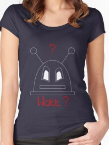 Robot (Watt? Angry eyes) White, Non-Filled face for darker backgrounds Women's Fitted Scoop T-Shirt