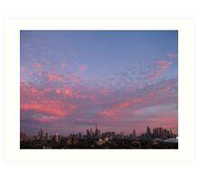 City Skyline - Pink Art Print
