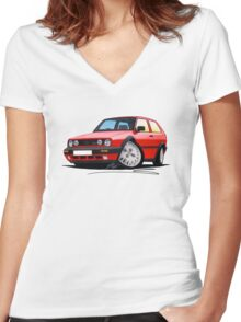 VW Golf GTi (Mk2) Red Women's Fitted V-Neck T-Shirt