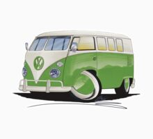 VW Splitty (11 Window) Lime Green Kids Tee