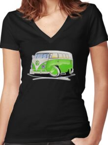 VW Splitty (11 Window) Lime Green Women's Fitted V-Neck T-Shirt