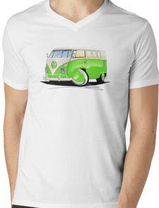 VW Splitty (11 Window) Lime Green Mens V-Neck T-Shirt