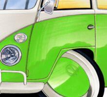 VW Splitty (11 Window) Lime Green Sticker