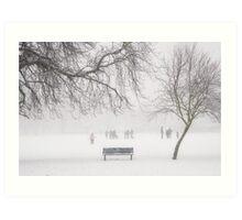 Winter bench Art Print