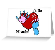 'Little Miracle' Baby Hand and Foot Print Design Greeting Card