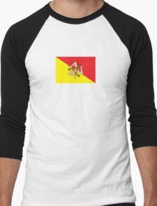 Sicilian Bandiera - Flag of Italian Island Sicily - T-Shirt Bedspread Men's Baseball ¾ T-Shirt