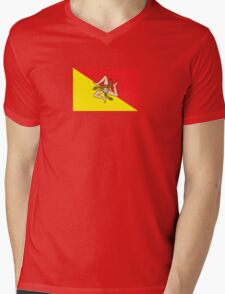 Sicilian Bandiera - Flag of Italian Island Sicily - T-Shirt Bedspread Mens V-Neck T-Shirt