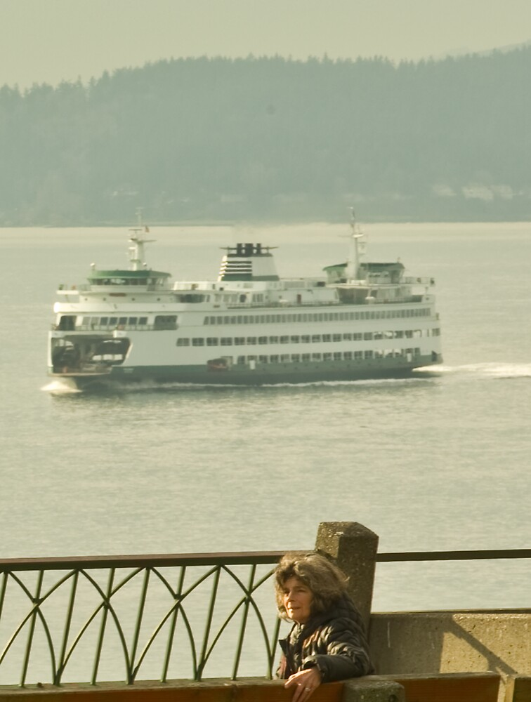 Woman and Ferry by lincolngraham