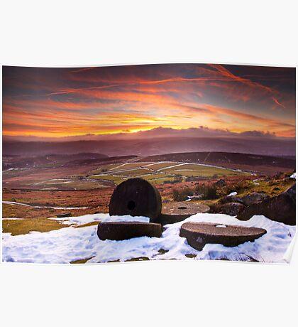 Stanage Sunset Peak District Poster