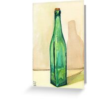 Green Glass Bottle Greeting Card