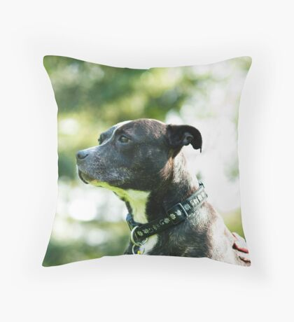 Staffie Love Throw Pillow