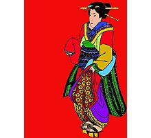 Bright Block Colors Geisha Asian Art Photographic Print