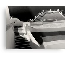 Steps, Walls, Shadows and Water ~ Black & White Metal Print
