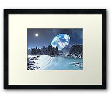 Winter Earth-rise over Alien Shores Framed Print