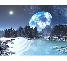 Winter Earth-rise over Alien Shores Photographic Print