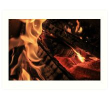 Black Logs and Flames Art Print