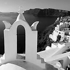 Overlooking the Caldera ~ Black &amp; White by Lucinda Walter