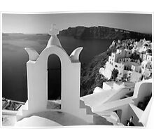 Overlooking the Caldera ~ Black & White Poster